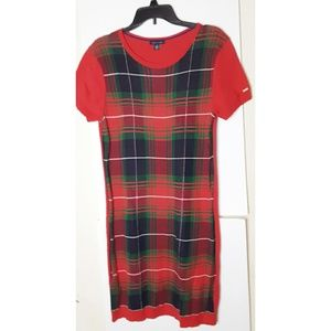 Tommy Hilfiger Sweater Dress Plaid Red Size Large